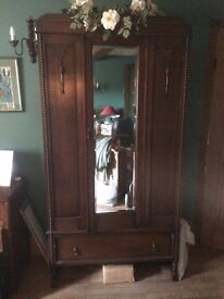 Wardrobe with draw and mirror