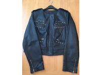 Genuine 100% Leather Jacket Size 16 , Coleen Rooney - Cropped Style with Stud Detailing