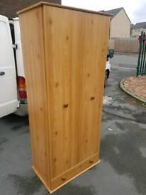 Wardrobe - Quality 2 Door and 1 Drawer Pine Effect Wardrobe