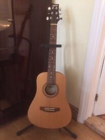 Acoustic travel guitar with case