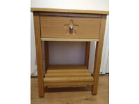 Quality bedside table, light wood, 1 drawer
