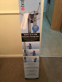 BRABANTIA WALL FIXED RETRACTABLE WASHING LINE 24M WITH STORAGE BOX