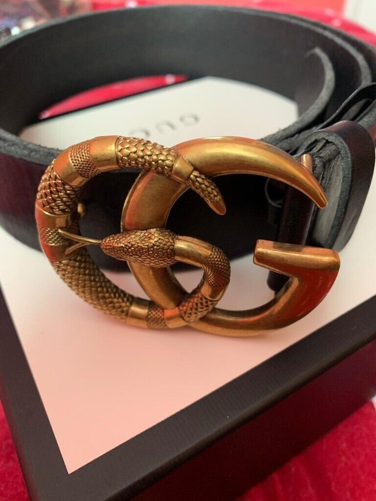 9e5ca33c608a5 GUCCI Leather belt with Double G buckle with snake -BRAND NEW   in ...