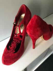 Red suede shoes size 7