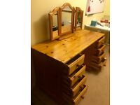 Pine 8 drawer desk/dressing table with mirror set