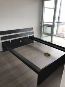 Double Bed with frame and bedside table