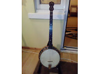 Old English 5 string banjo with resonator and original case