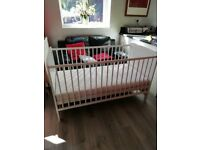 Wooden Baby Cot and Mattress