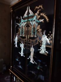 Oriental laquard mother of pearl wardrobe with two draws forsale