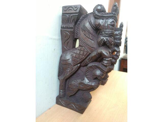 Wooden Wall Corbel Pair Horse Sculpture Bracket Dragon Yali Statue Home Decor