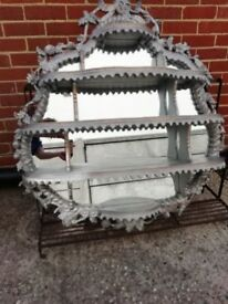 """Large mirror with shelves 42"""" X 44"""" silver and gold in colour could be painted"""