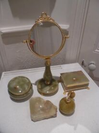 Set of Italian Dressing Table Onyx Items - Mirror, 2 Trinket Boxes, Scent Spray