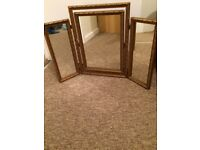 Old gold dressing table mirror