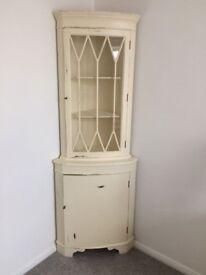 Corner wood and glass display unit, shabby chic, cream