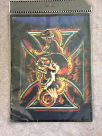 Holographic skull & snake picture. Unused in wrapper. Gothic / Horror gift idea?