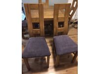 Brand New Wave Back Rustic Solid Oak and Charcoal Plain Fabric Two Dining Chairs
