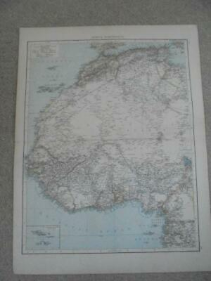 TIMES ATLAS MAP 1895 AFRICA NORTH-WEST COLOURED LITHOGRAPH