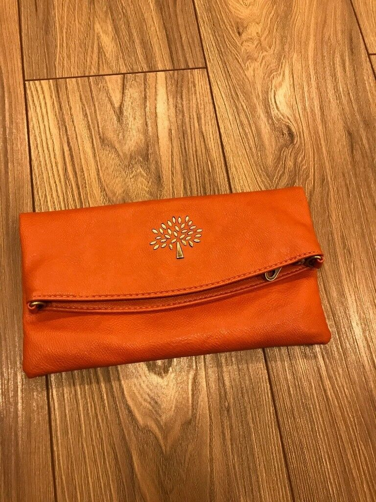 Mulberry daria clutch bag orange red leather  7065f5ad8e5cc