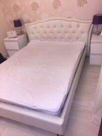 Double leather white bed with mattress!!!