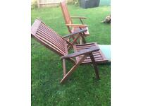 Solid,Teak Wood, garden chairs with cushions - 1 x Recliner and 1 x chair with arms and cushions.