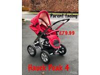 Brand new parent facing Hauck Peak 4 Pushchair pram red only £79