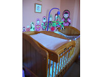 Mamas and Papas Cot Bed + Mattress + Underbed Storage. Like New