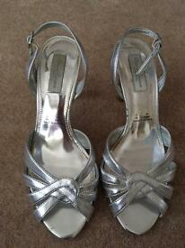 Red herring silver sandals size 6