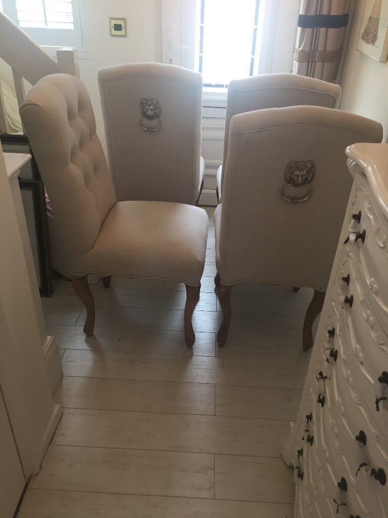 Stunning Silver Lion Door Knocker Dining Room Chairs Padded Fabric Seats