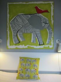 Habitat elephant cushion & matching giant elephant hand painted wall canvas