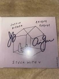 stuck with you cd signed by ariana grande and justin bieber
