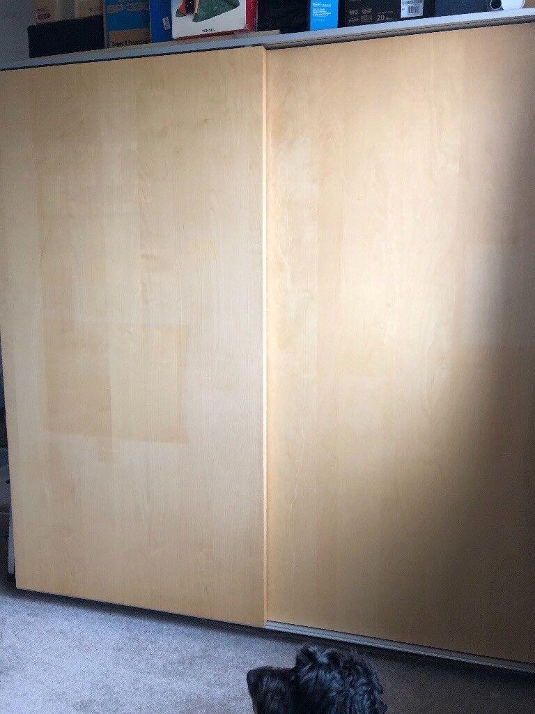 Ikea Pax Malm Wardrobe With Sliding Doors Birch Veneer 200x66cm