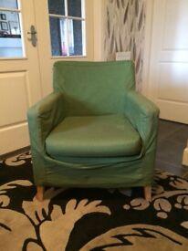 Green fabric armchair