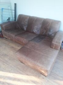 Beige / Brown leather chaise sofa