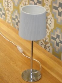 TABLE LAMP polished stainless steel with light grey corrugated shade and bulb, all as new, from NEXT