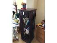 DVD media storage wooden swinging tower shelves display shelving unit