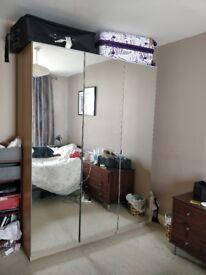 IKEA Pax wardrobe.Oak and mirror doors.