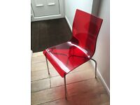 4 x Red Modern John Lewis GEL Chrome Leg Dining Chairs
