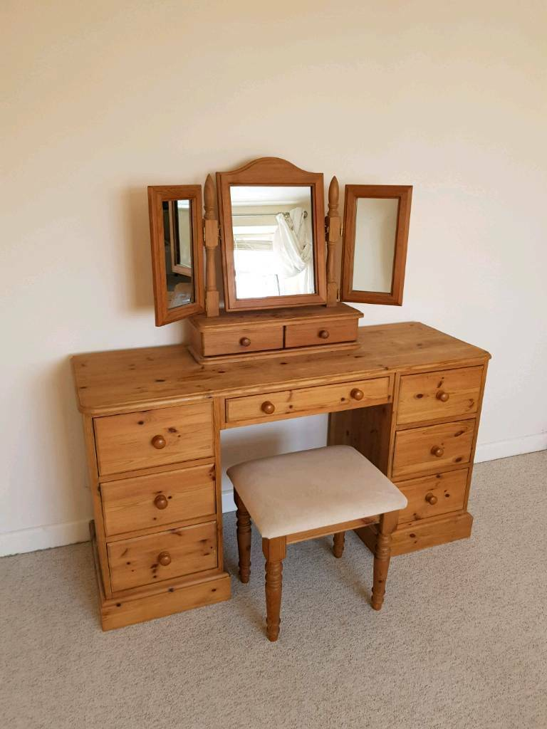 Dressing Table With Mirror And Stool: Solid Pine Double Dressing Table Mirror And Stool
