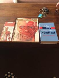 Oxford medical dictionary, anatomy book and at a glance anatomy guide.