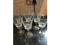 Seven wine glasses
