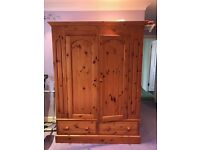 Large Pine Wardrobe - Drawers & Hanging Rail