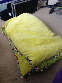 Free lime green velvet look blanket - needs repair