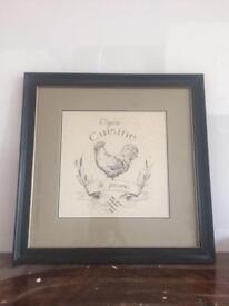 Neptune framed chicken print wall art