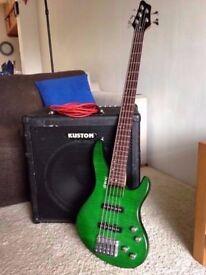 5 String Shine Bass Guitar, lovely Green colour