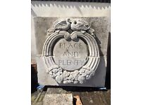Unique Portland stone carved wall/garden feature