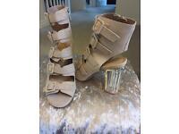 Size 6 cream buckle heels