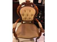Italian style armchair in gold velvet with pin tuck buttons.