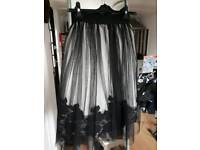 Tulle skirt size 6 black and white with lace