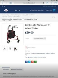 Lightweight Aluminium Tri Wheel Walker. Disability Aid/rollator/walker