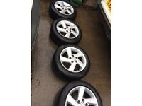 "MAZDA ALLOY WHEELS WITH 4 EXCELLENT TYRES 16"" ONLY £100 FOR THE SET"